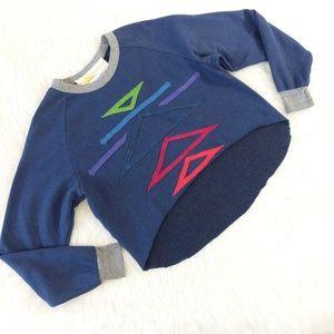 Aviator Nation Blue Cropped Sweatshirt
